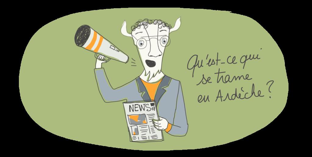 une chèvre ardéchoise annonce les actualités, elle a un porte-voix dans la main